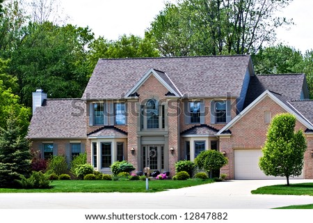 A very expensive home in a suburb of Cleveland Ohio. - stock photo