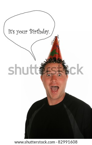 a very funny a young man celebrates a birthday, anniversary, holiday or any party at all. shot with a Fisheye lens for a fun distorted view. isolated on white with room for your text - stock photo
