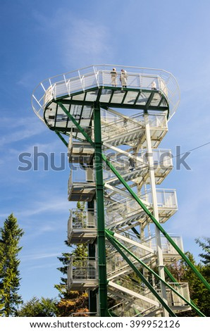 a very high observation tower, bskid mountains in Poland - stock photo