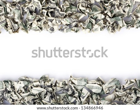 A very large amount of 100 US$ money notes organized as top-bottom frames. Can go very well with my large selection of crimped cash words. - stock photo