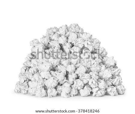A very large pile of crumpled paper ball isolated on white background - stock photo
