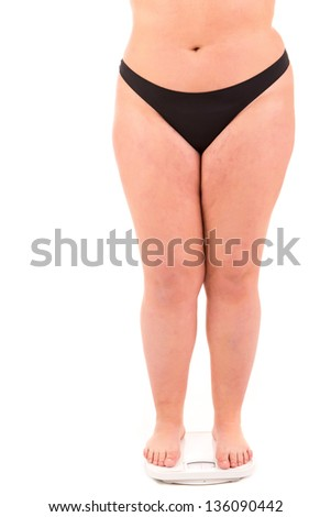 A very large woman on a scale - diet concept - stock photo