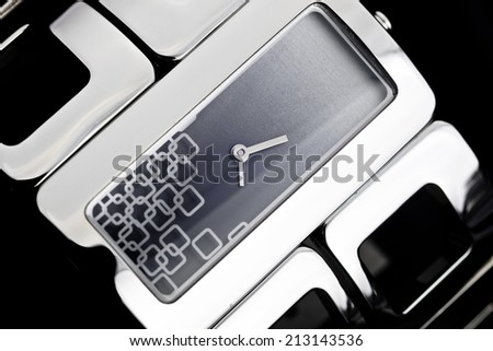 A very luxury woman watch of bracalet - stock photo