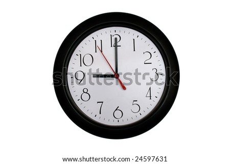 A very nice shot of a clock showing 9 O'clock - stock photo