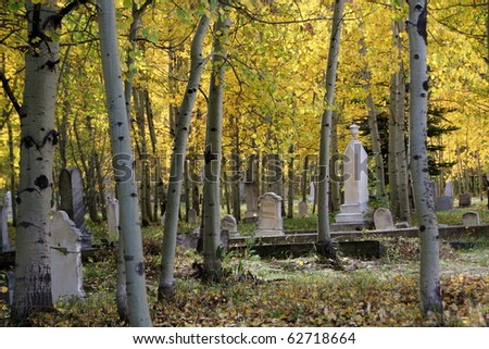 A very old cemetary in the fall season - stock photo