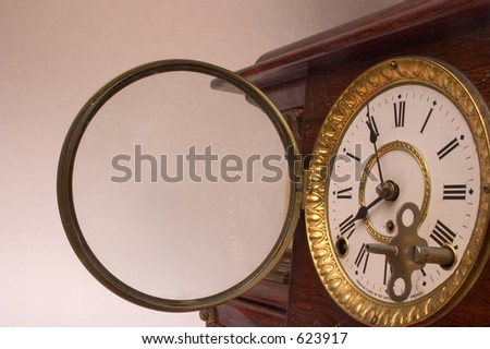 A very old chiming mantle clock made in the 1890's - stock photo