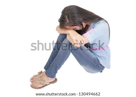 A very sad and depressed woman crying - stock photo