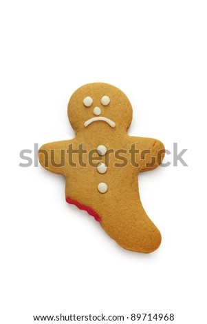 A very sad looking gingerbread man - stock photo