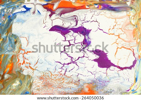 A vibrant painting of abstract colors using acrylic on canvas. - stock photo