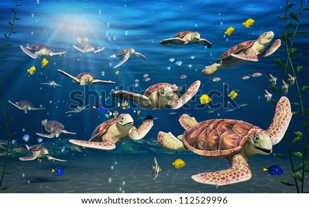 A vibrant underwater Scene showing cartoon turtles and fish. - stock photo