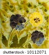 A Victorian Art Nouveau period tile c1890 in majolica glaze with pansy flowers - stock photo