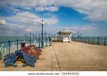 A Victorian seaside pier at Swanage a small town on Dorset's Jurassic Coat - stock photo