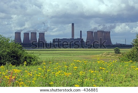 A view across fields of wildflowers to a coal powered powerstation belching out steam, under a cloudy sky. Fiddlers Ferry power station, UK