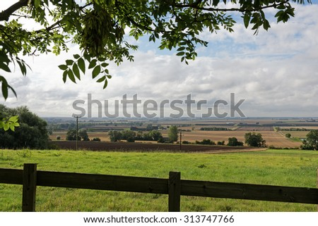 A view across the fertile arable farmland of the Lincolnshire Fens,UK