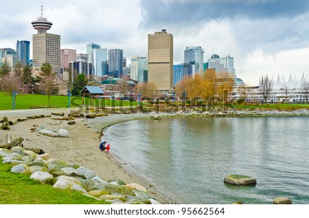 A view at Downtown of Vancouver, Canada from Portside Park. - stock photo