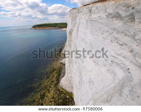 A view for cliff climber. Beside the white cliff. - stock photo