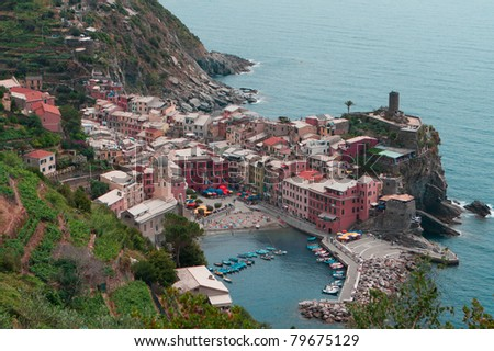 A view from above: Looking down at a town in Cinque Terre - stock photo