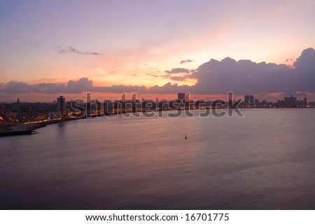 A view from Habana Bay skyline at sunset with dramatic clouds - stock photo