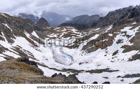 A view from Polsky Hreben towards the Poland and the Frozen Kettle (Zamrznuti Kotel) a frozen lake;  High Tatras, Slovakia - stock photo