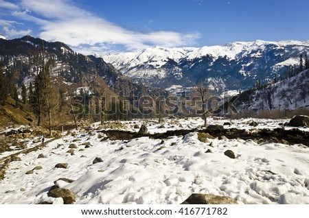 A view from Solang Valley, Manali, HP,India - stock photo