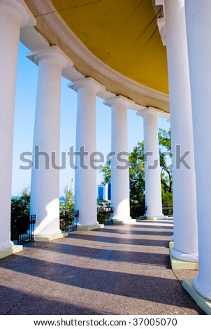 A view from the inside of the colonnade in Odessa, Ukraine - stock photo