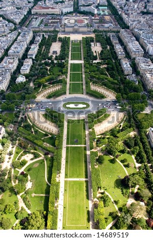 A view from the 2nd level of the Eiffel Tower, Paris, France