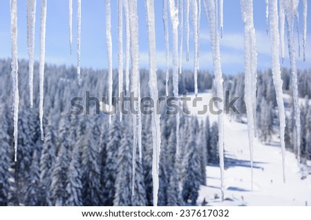 a view from the room in a ski resort  - stock photo