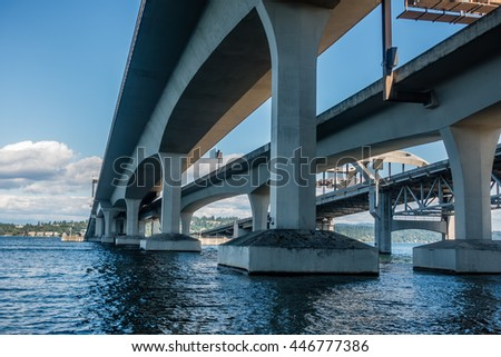 A view from under the I-90 bridge in Seattle, Washington.
