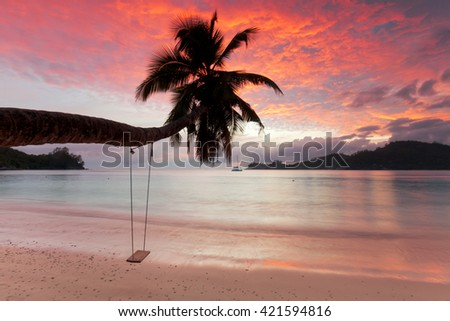 a view of a beach with palm trees and swing at sunset, seychelles, Mahe - stock photo