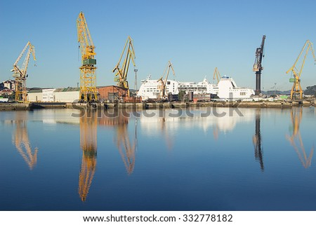A view of a ferry under repair in dock at a shipyard.Shipyard. - stock photo