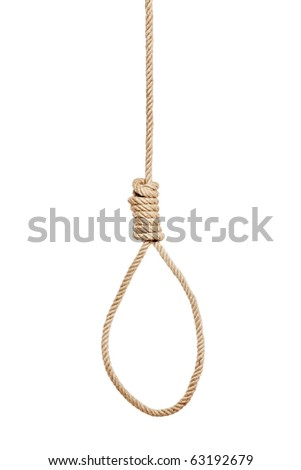 A view of a hangman's noose made of natural fiber rope isolated on white background - stock photo