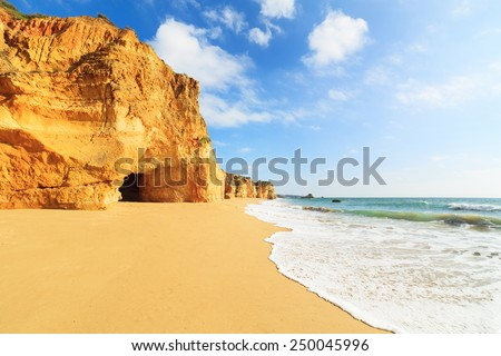 A view of a marvelous sandy beach, Portugal - stock photo