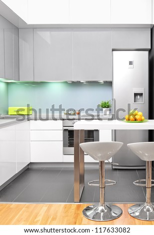 A view of a modern kitchen interior - stock photo