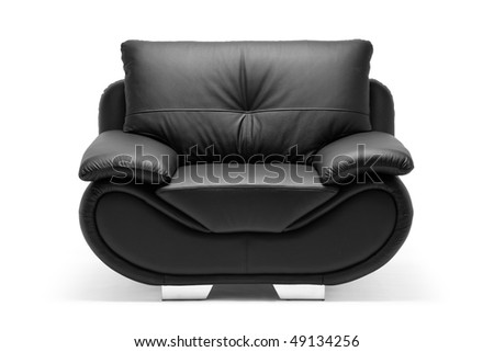 A view of a modern leather chair isolated on white background - stock photo
