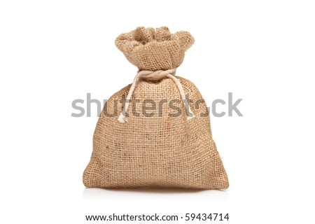 A view of a money bag against white background - stock photo