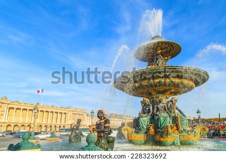 A view of a Place de la Concorde fountain, Paris, France - stock photo