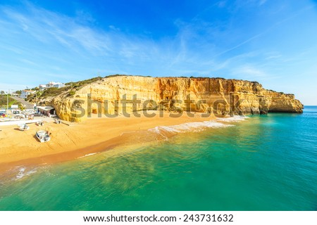 A view of a Praia de Benagil near Portimao in Algarve region, Portugal, Europe - stock photo