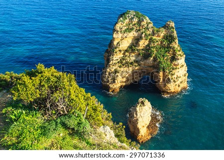 A view of a rocky shore in Portugal - stock photo