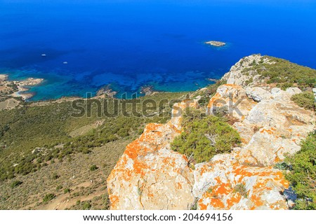 A view of a rocky shore of Cape Akamas, Cyprus - stock photo