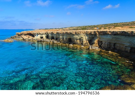 A view of a sea shore in Kavo Greko nenar Aiya Napa, Cyprus - stock photo