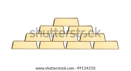 A view of a stack of gold bars isolated on white background - stock photo