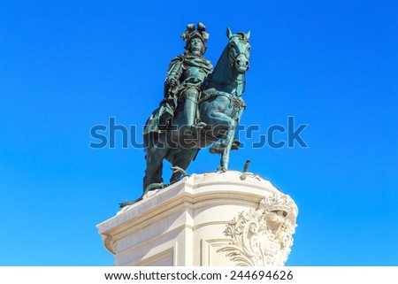 A view of a statue of King Jose I in Lisbon, Portugal