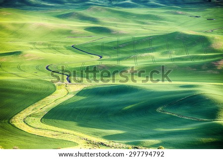 A view of a stream bed meandering through wheat fields in the rolling hills of the Palouse area in Eastern Washington. The view from Steptoe Butte highlights the contours of the land. - stock photo