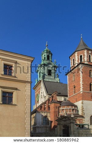 A view of a towers of Wawel cathedra in Cracow, Poland