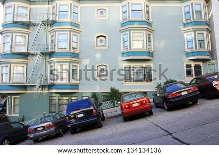 A view of a typical San Francisco road, Usa - stock photo