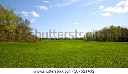 a view of an Ontario farmland - stock photo