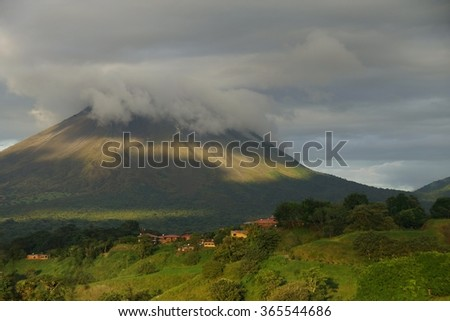 A view of Arenal volcan, Costa Rica at sunset.