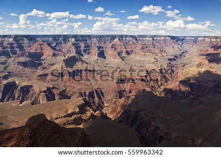 A view of Arizona's Grand Canyon from the south rim trail in the early afternoon.