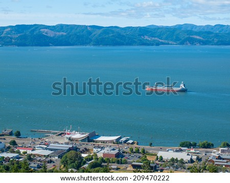 A View of Astoria Oregon from Coxcomb Hill, the Location of the Astoria Column - stock photo