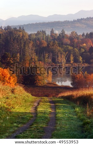 A view of autumn deer lake. - stock photo
